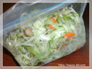 カット野菜を混ぜておく