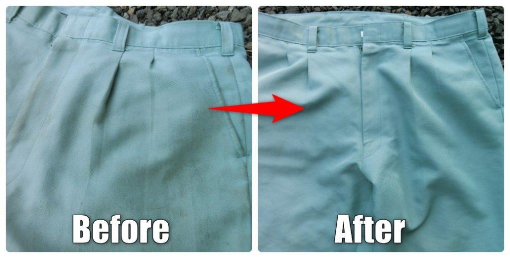 機械油汚れのズボンの洗濯前と後
